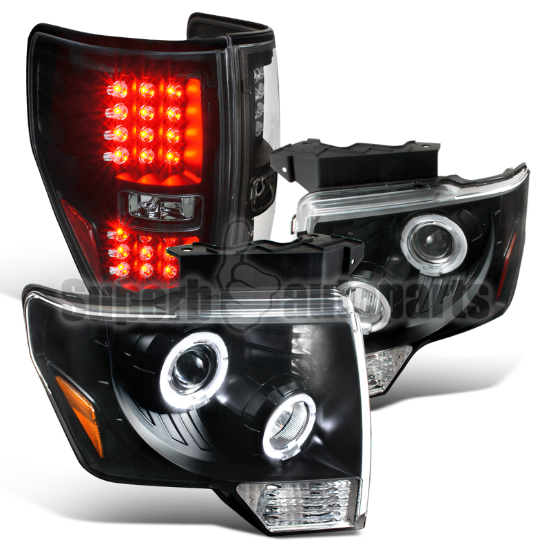 2009 2013 ford f150 halo projector headlights led tail lights black. Black Bedroom Furniture Sets. Home Design Ideas