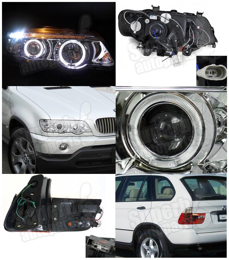 2001-2003 BMW X5 Halo LED Projector Headlights Chrome