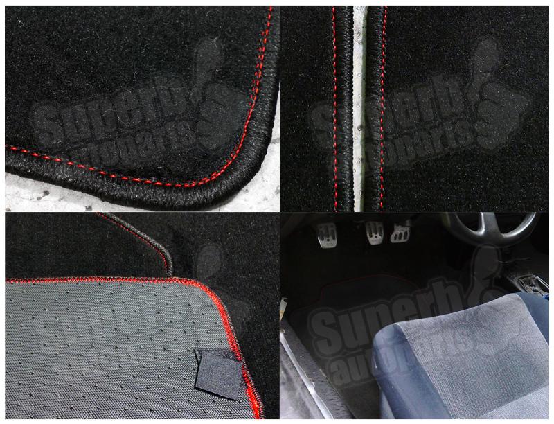 For 1992 1995 honda civic 2dr 3dr red stitch carpet floor for 1992 honda accord floor mats