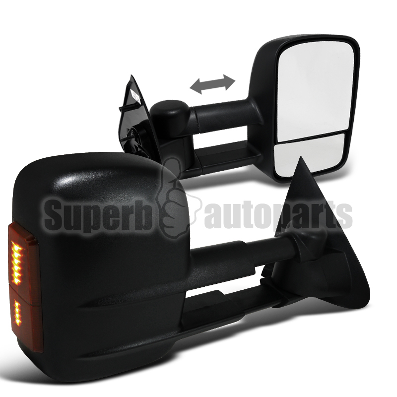 ... about 1997-2003 Ford F150 Power LED Signal Side Towing Mirror Black