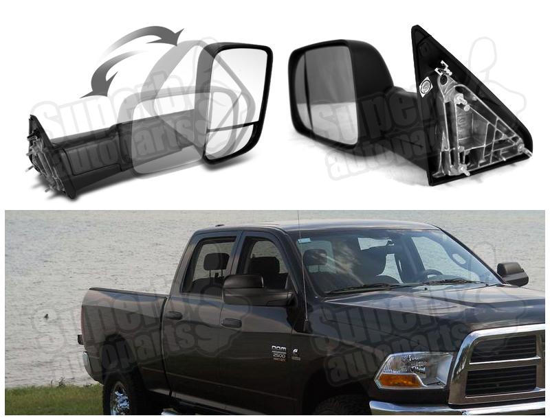 2010 2011 dodge ram 2500 3500 towing trailer manual flip up side mirrors ebay. Black Bedroom Furniture Sets. Home Design Ideas
