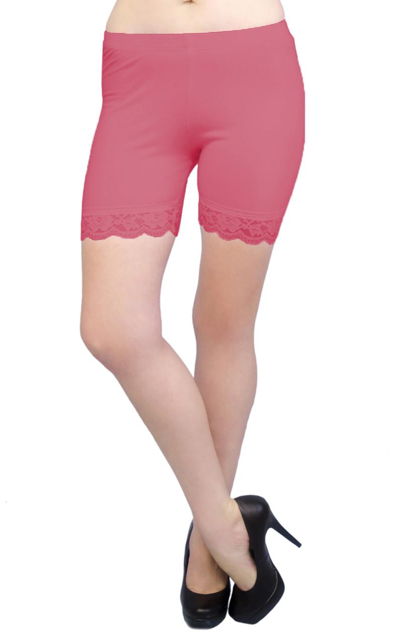 Lace Trim Vivian/'s Fashions Legging Shorts Cotton Misses Sizes