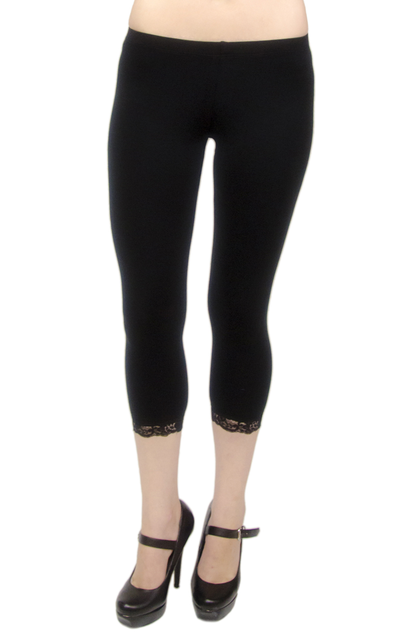 VF Manufacturing Capri Leggings - Cotton, Lace Trim, Regular and Plus Size at Sears.com