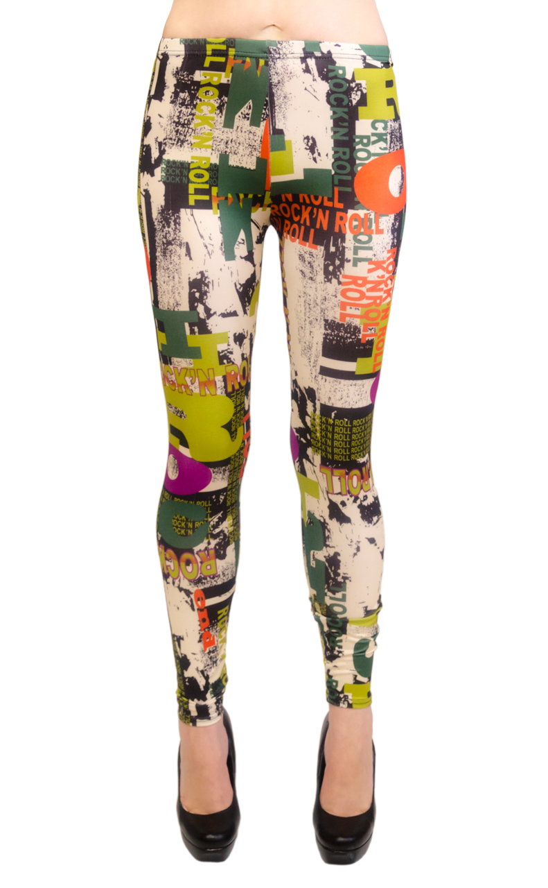 Wonder Beauty Long Leggings - Rock and Roll Print (One Size) at Sears.com