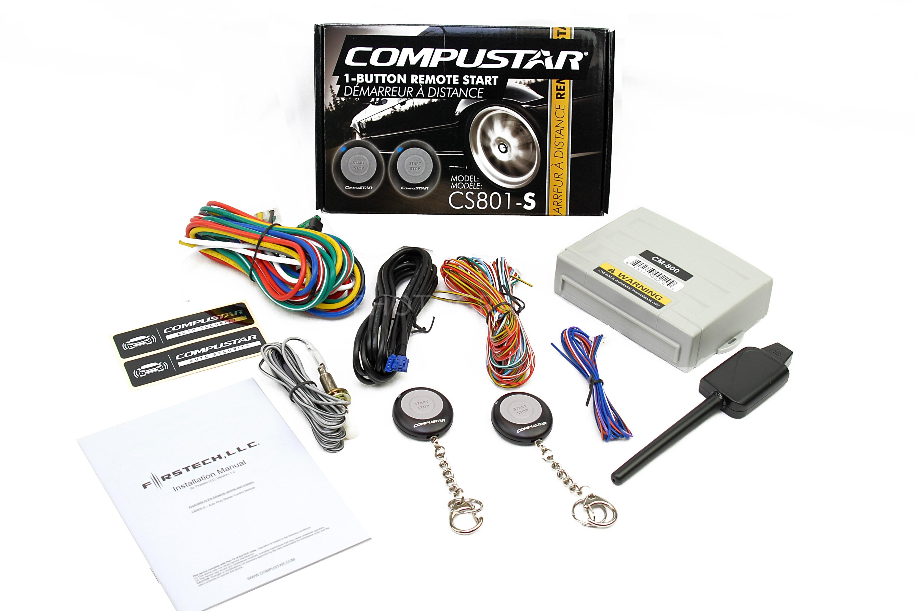 compustar cs801 s 1 button remote start car auto starter