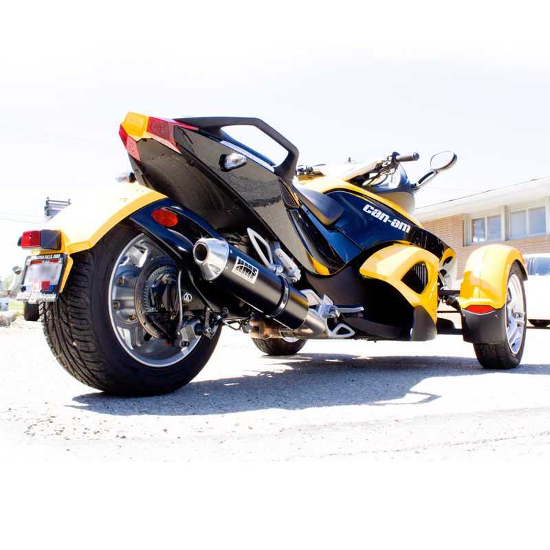 hmf can am spyder rs 2008 2012 black slip on exhaust closeout ebay. Black Bedroom Furniture Sets. Home Design Ideas