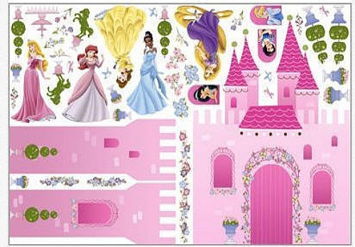 Disney princesses castle wall stickers mural 56 decals for Disney princess mural stickers