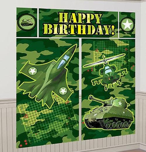CAMOUFLAGE Military Scene Setter HAPPY BIRTHDAY Party Wall Decor Camo
