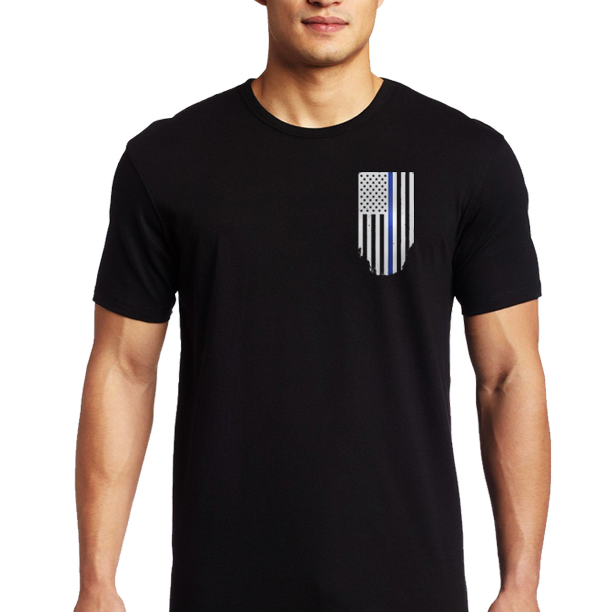 Thin blue line men 39 s black flag t shirt ebay Shirts for thin guys