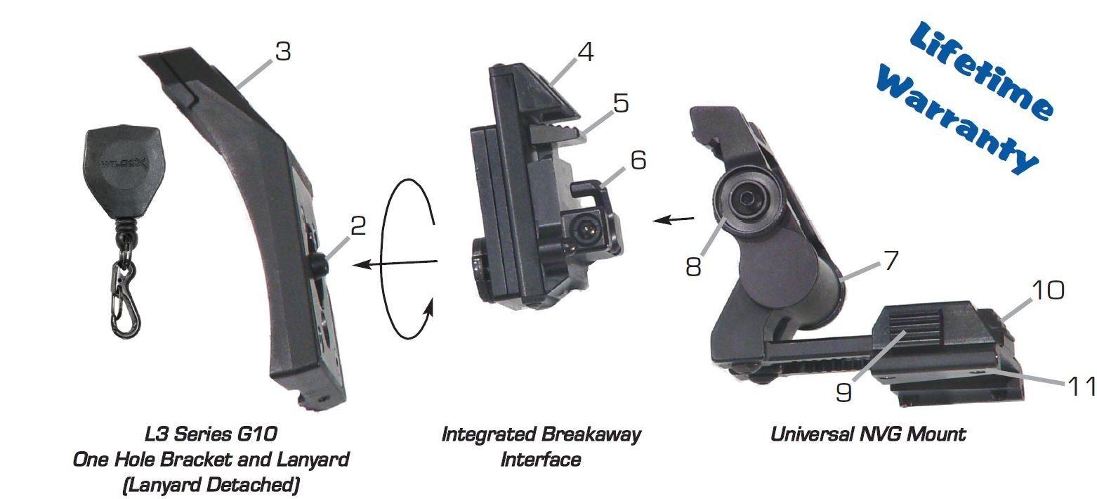 Wilcox-28300G10-L3-G10-NVG-Helmet-Mount-w-Shroud-amp-Lanyard