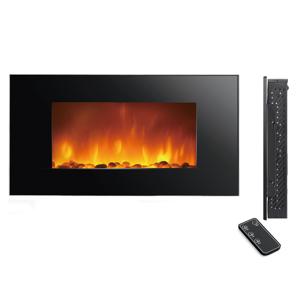 Clevr 750 1500w 48 Heat Adjustable Electric Wall Mount Fireplace Heater Stone Ebay