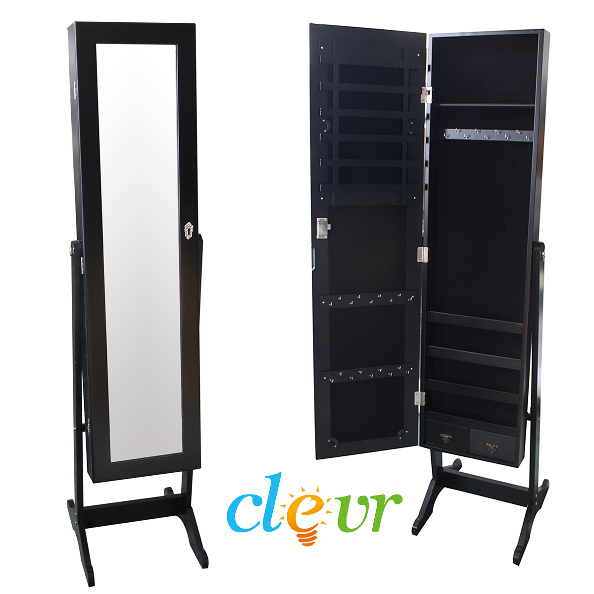 Clevr black mirrored jewelry cabinet armoire mirror for Mirror jewelry cabinet