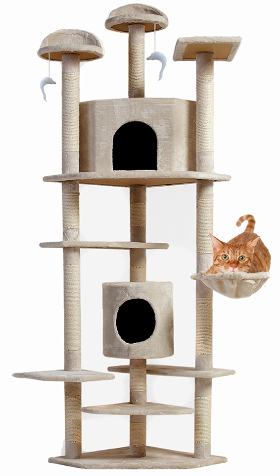 "Planet International Cat Tree House 80"" Scratching Post Large Pet Kitten Condo Furniture Beige 6.5ft at Sears.com"