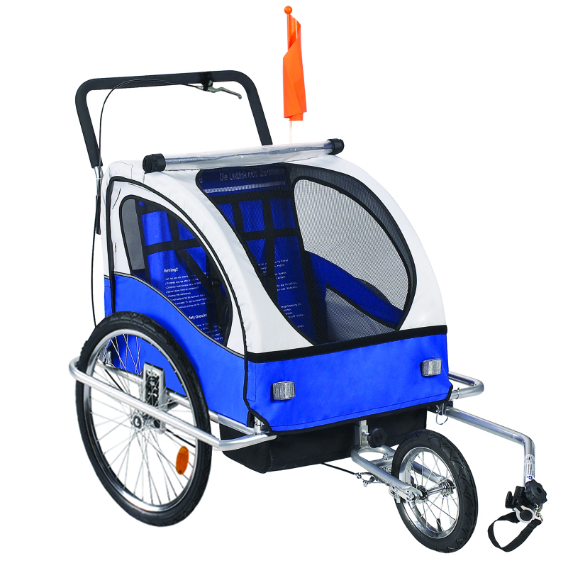 Premium 2 Child Bicycle Trailer Baby Bike Kid Jogger Blue