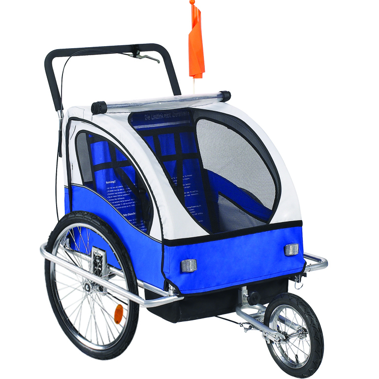 Premium 2 Child Bicycle Trailer Baby Bike Kid Jogger Blue ...