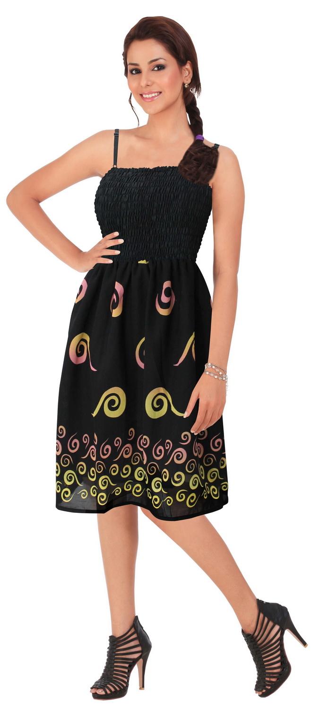 LaLeela.com Sheer Chiffon Swirl Printed Smocked Short Tube Dress at Sears.com