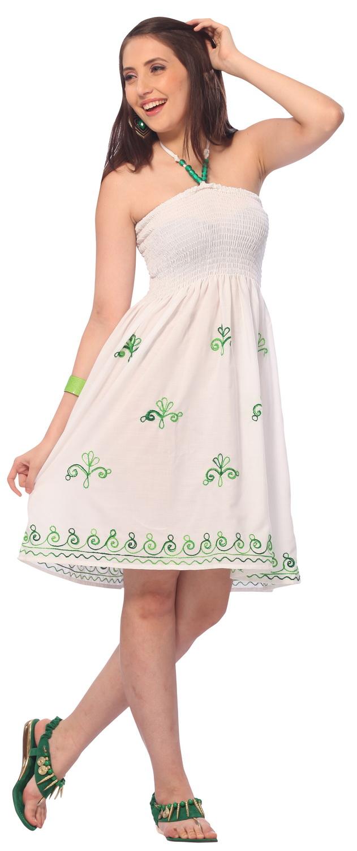 LaLeela.com Mini Cover up RAYON HAND Embroidered Green Ari Casual Tube Dress Women