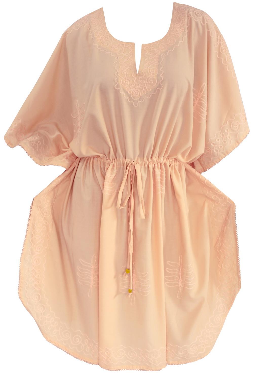 LaLeela.com P Viscose Light Orange Embroidered Night Gown Short Kaftan Caftan at Sears.com