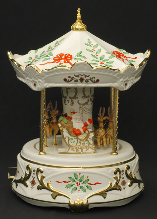 Music box carousel lenox holiday christmas reindeer ebay