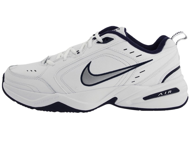 Innovative Nike Air Monarch IV Training Shoe White Silver Navy