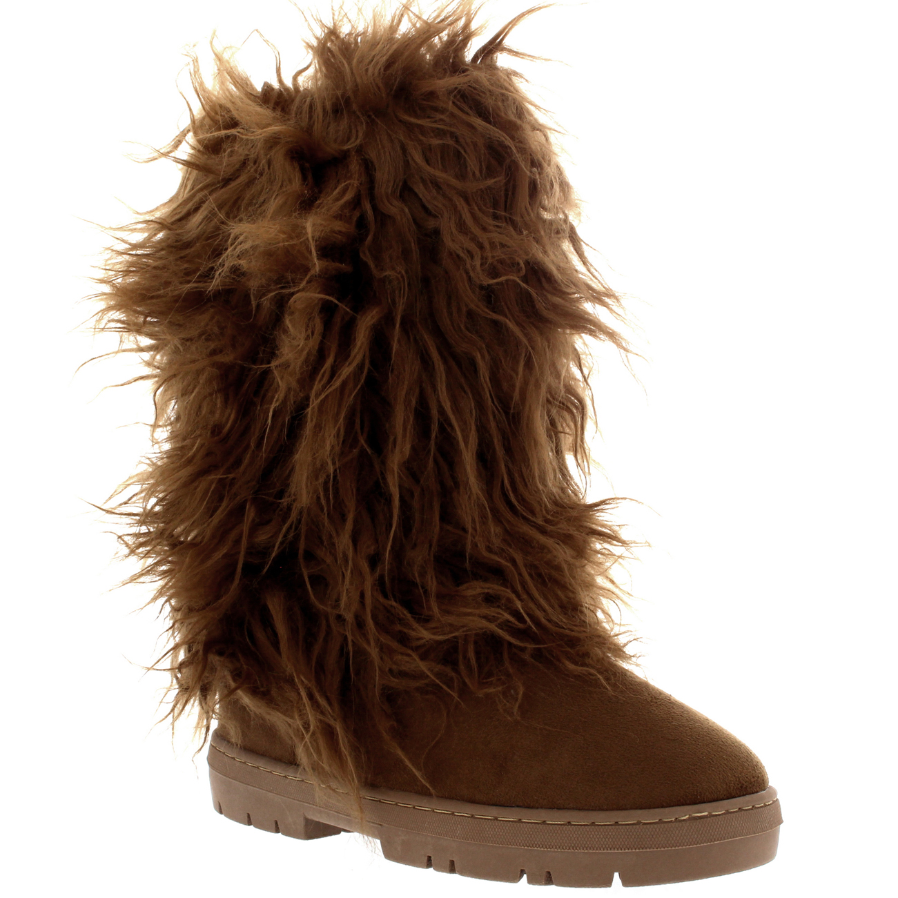 Womens Long Fur Covered Rain Fur Lined Winter Warm Tall Snow Boots ...