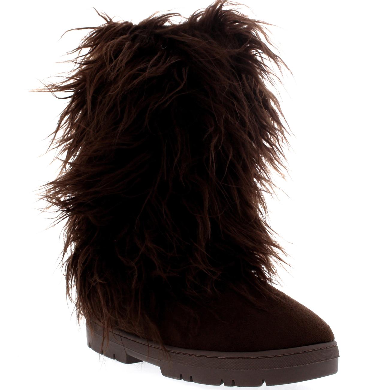 Womens Long Fur Covered Rain Fur Lined Winter Warm Tall Snow Boots ...
