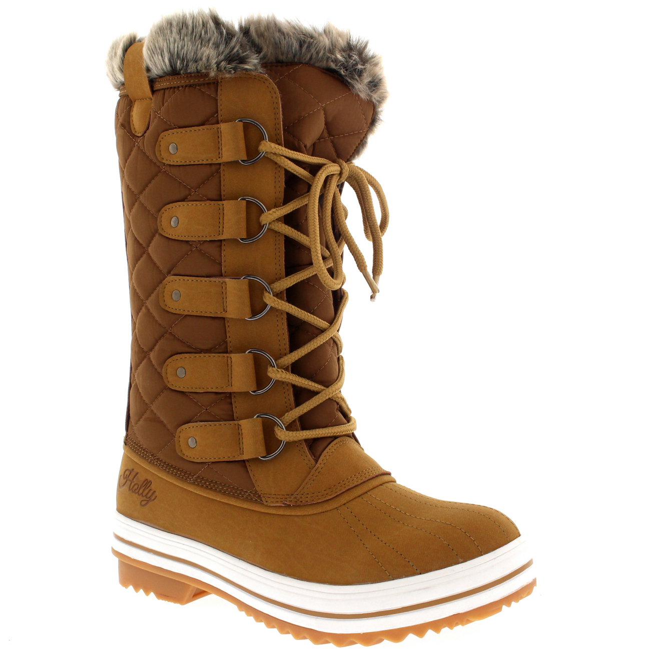 Womens Snow Boot Nylon Tall Winter Snow Waterproof Fur Lined Warm ...