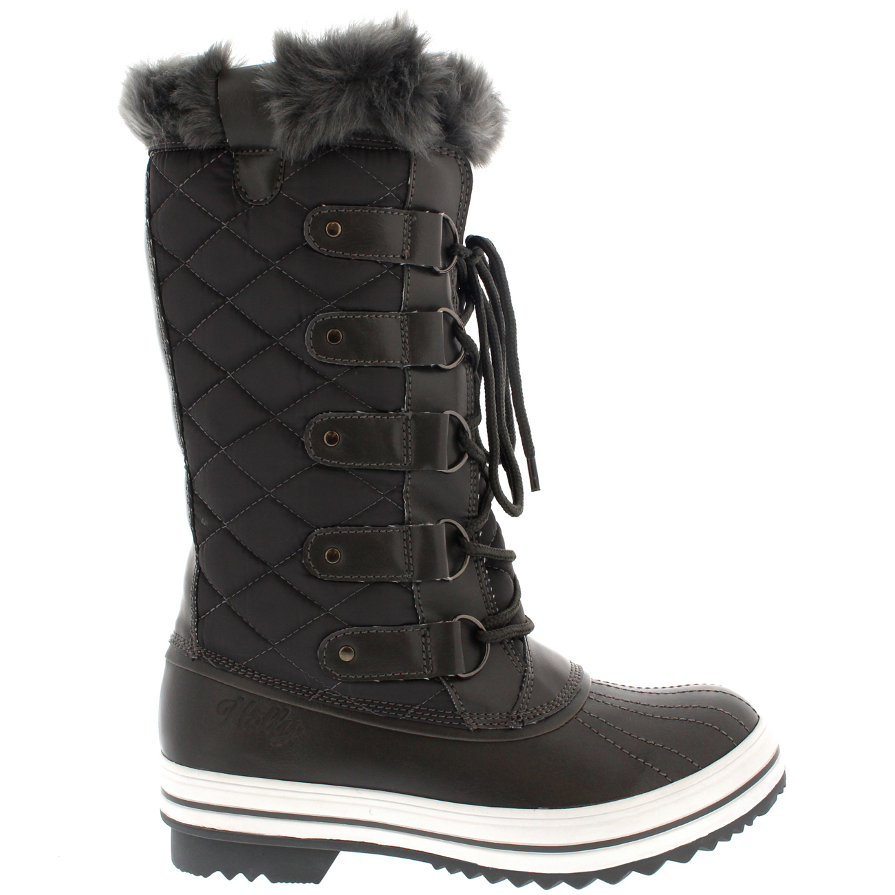 Womens Snow Boot Nylon Tall Winter Snow Waterproof Fur Lined Warm ...