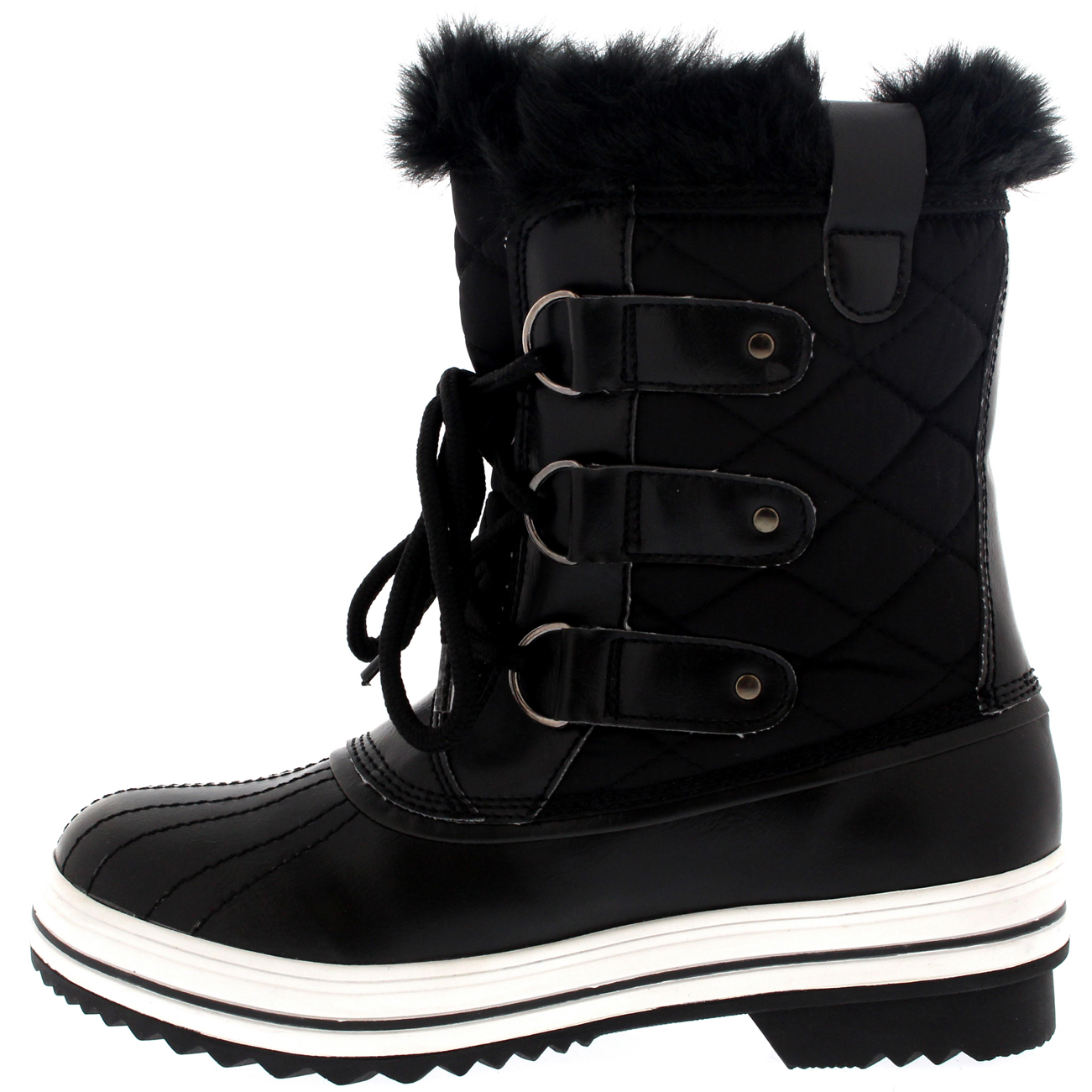 New Womens Snow Boot Nylon Short Winter Snow Fur Rain Warm
