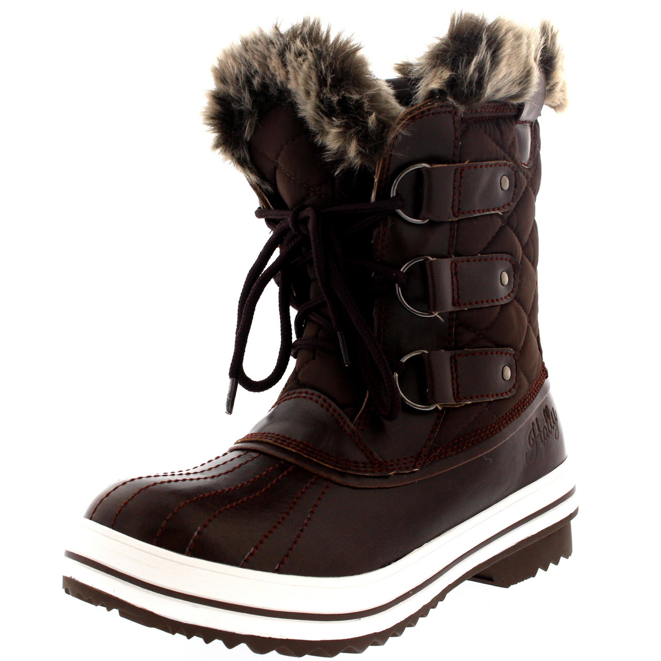 Womens Snow Boot Nylon Short Winter Snow Fur Rain Warm Waterproof ...