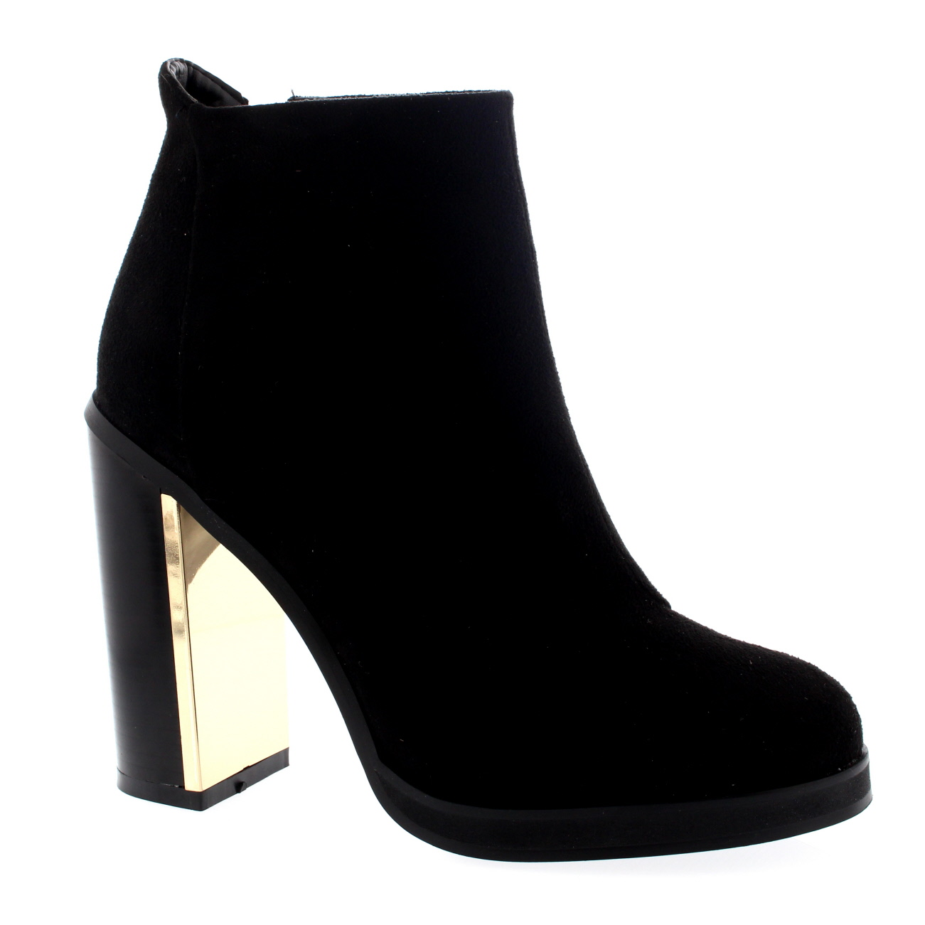 Womens Gold Trim High Heel Ankle Boot Shoes Evening Party Heels ...
