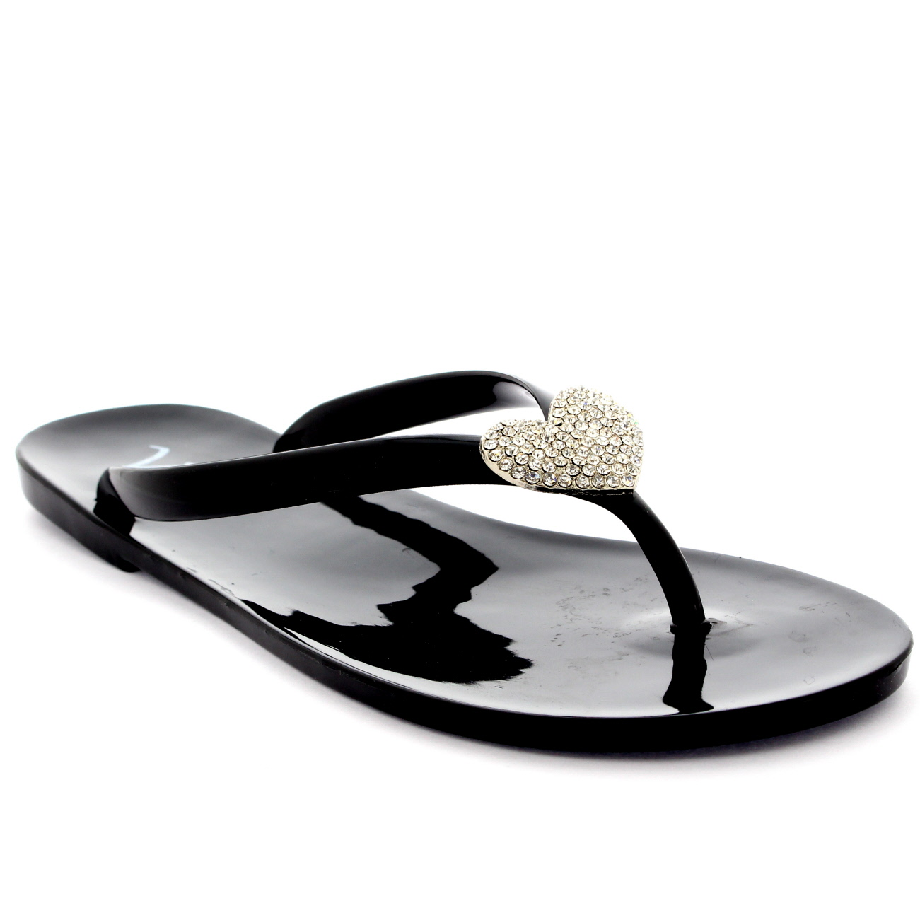 Womens Summer Holiday Diamante Heart Jelly Shoes Beach Flip Flops Sandals UK 3-9