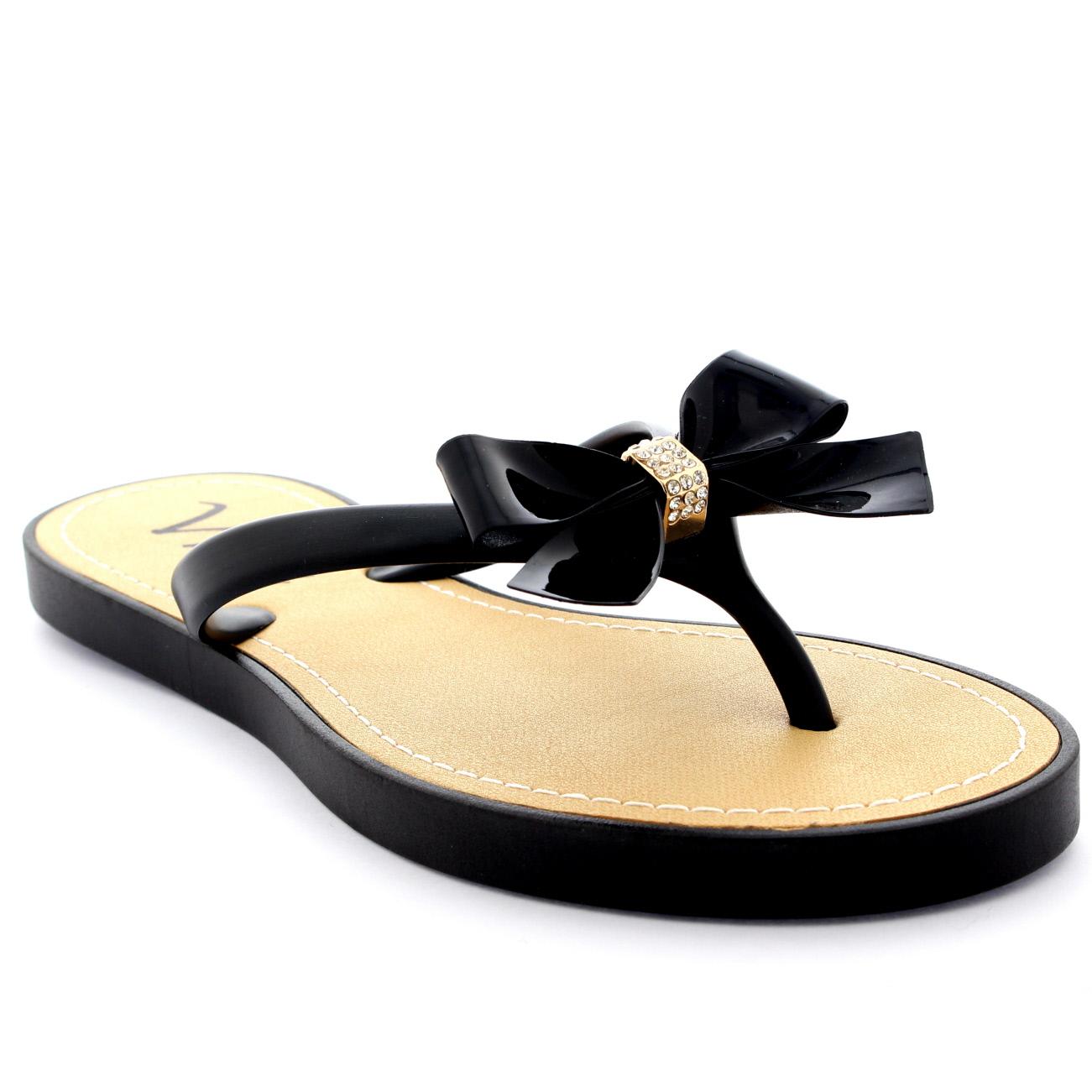 Womens Summer Slip On Holiday Sandals Festival Bow Diamante Flip Flops UK 3-9