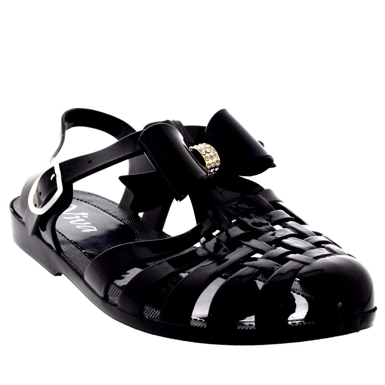 Womens Jelly Shoes Festival Beach Buckle Diamante Bow Gladiator Sandals UK 3-9