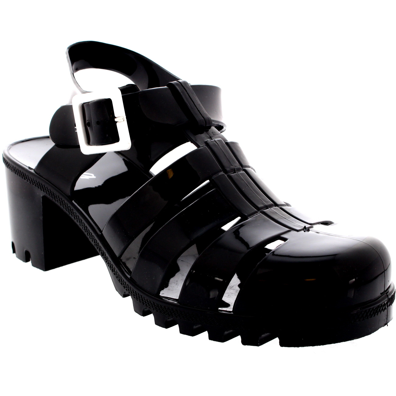 Womens Jelly Festival Holiday Mid Heel Buckle Retro Gladiator Sandals UK 3-9