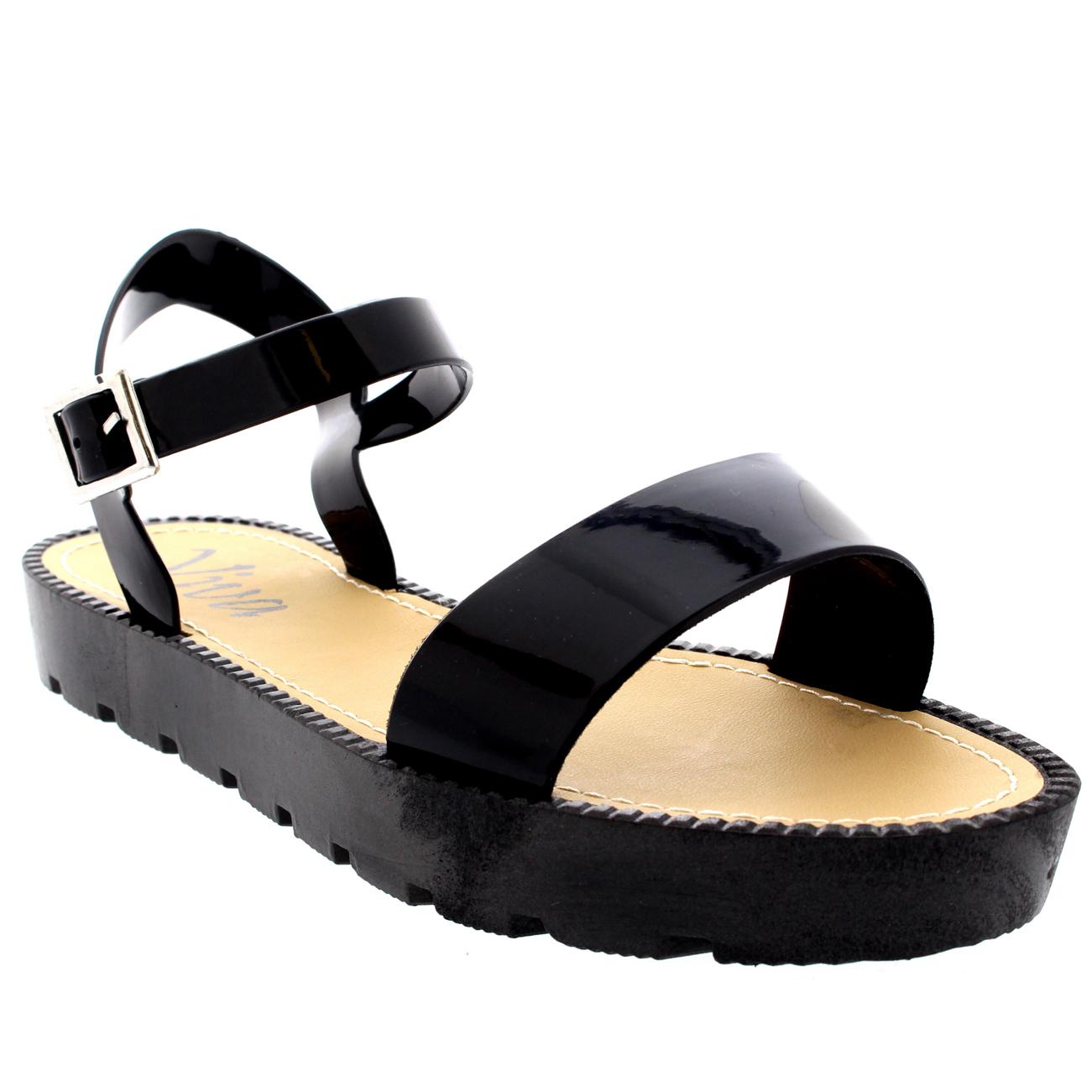 Womens Flatform Buckle Wedge Holiday Festival Peep Toe Ankle Strap Sandal UK 3-9