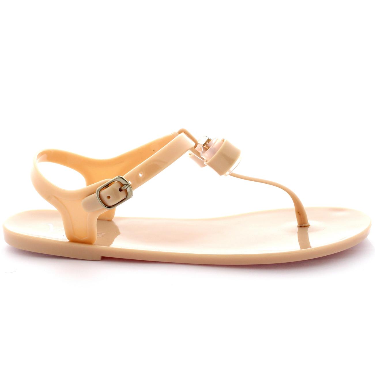 Elegant Fashion Womens Diamante Bow Sandals Ladies Slip On Flat Shoes Mules