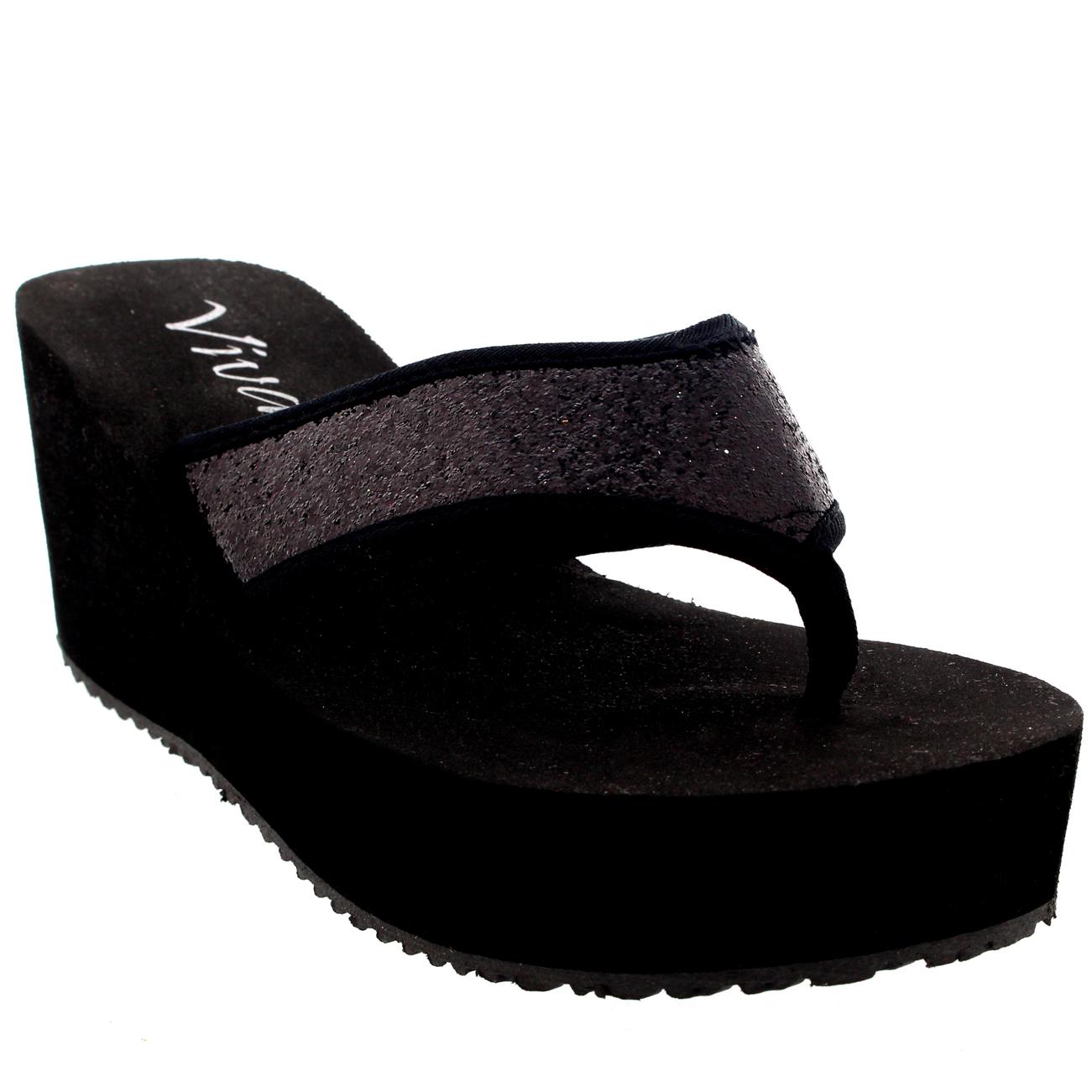 damen offene zehen flip flops glitzer high heel plateau keilabsatz tanga sandalen uk 3 9 ebay. Black Bedroom Furniture Sets. Home Design Ideas