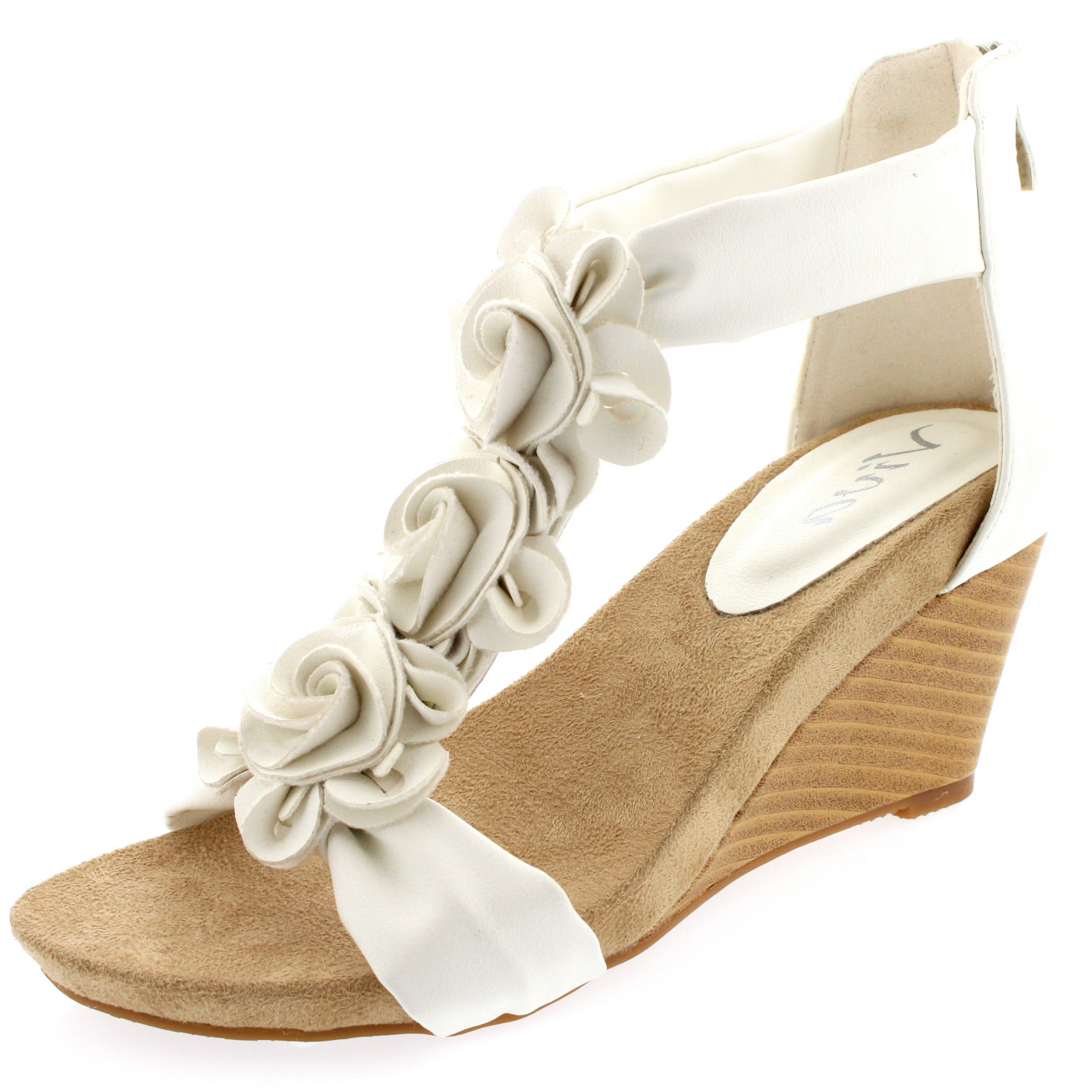 Womens Floral Low Wedge Heel Open Toe Summer Ankle Strap