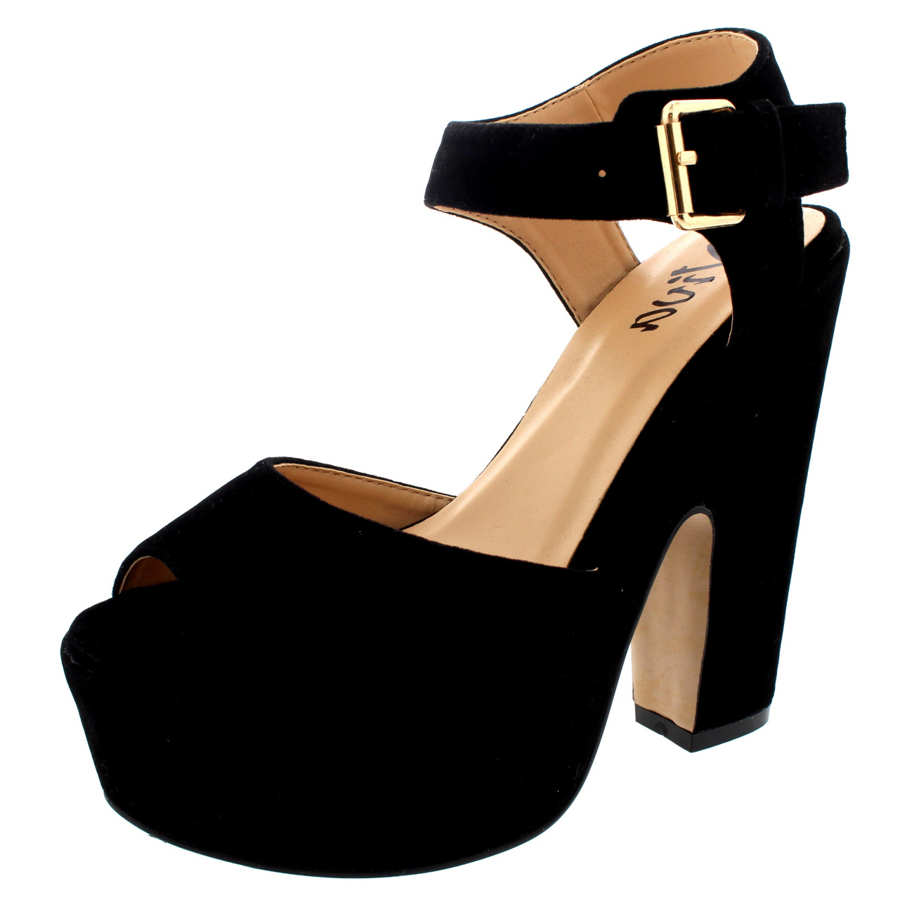 Womens Block Heel Ankle Strap Shoes Platform Heels Faux ...