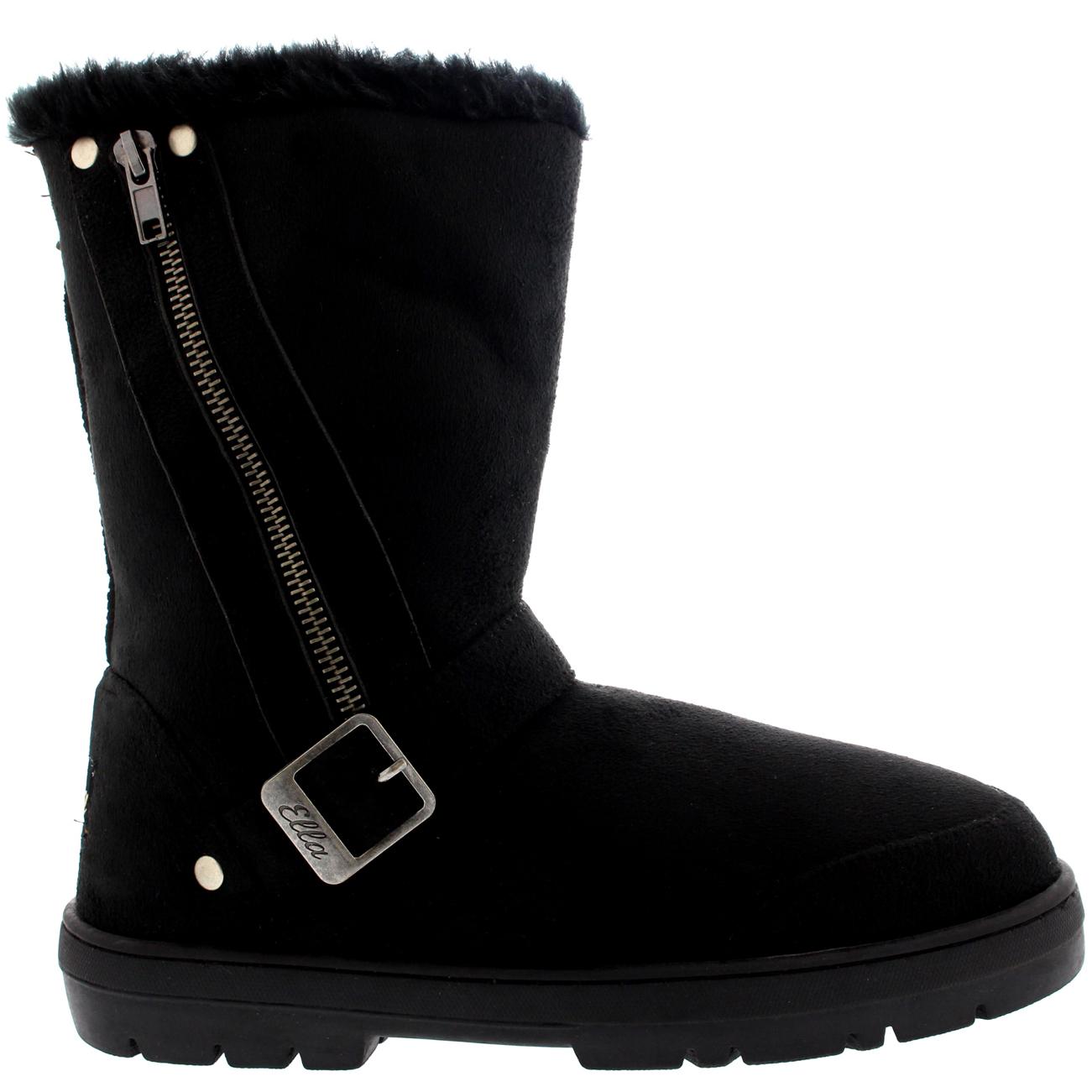 Side Zip Fur Boots