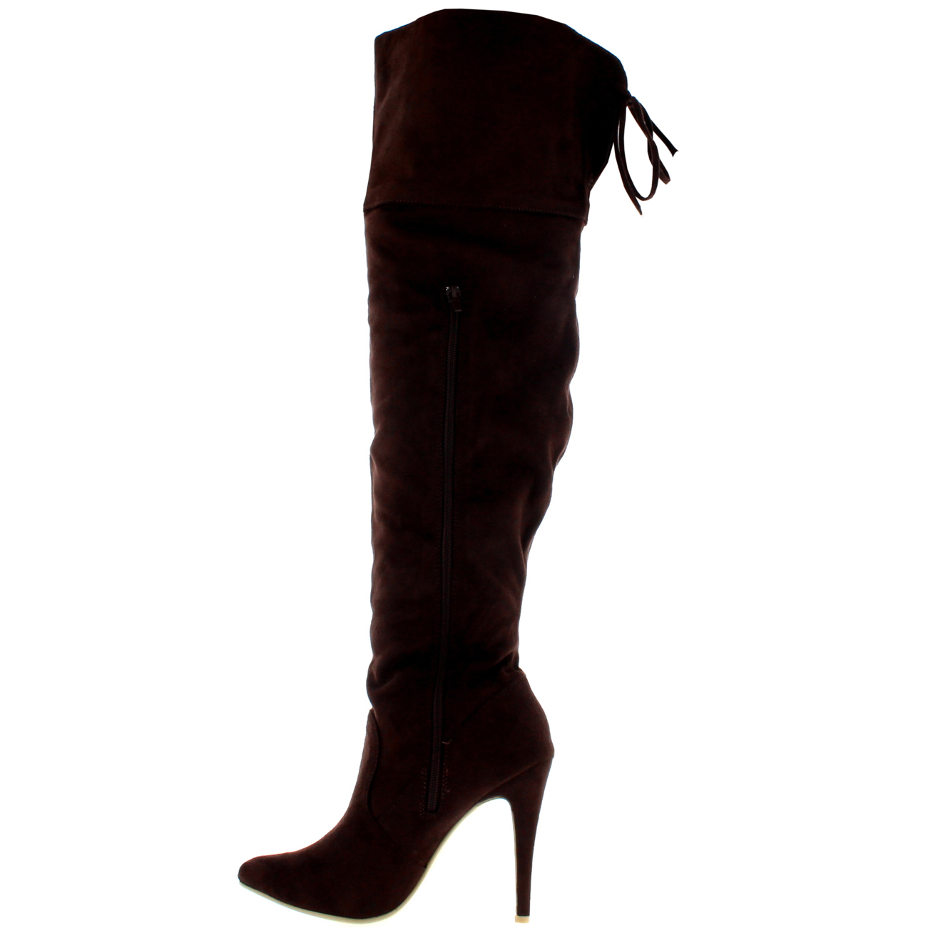 womens stiletto thigh high platform bow stretch evening