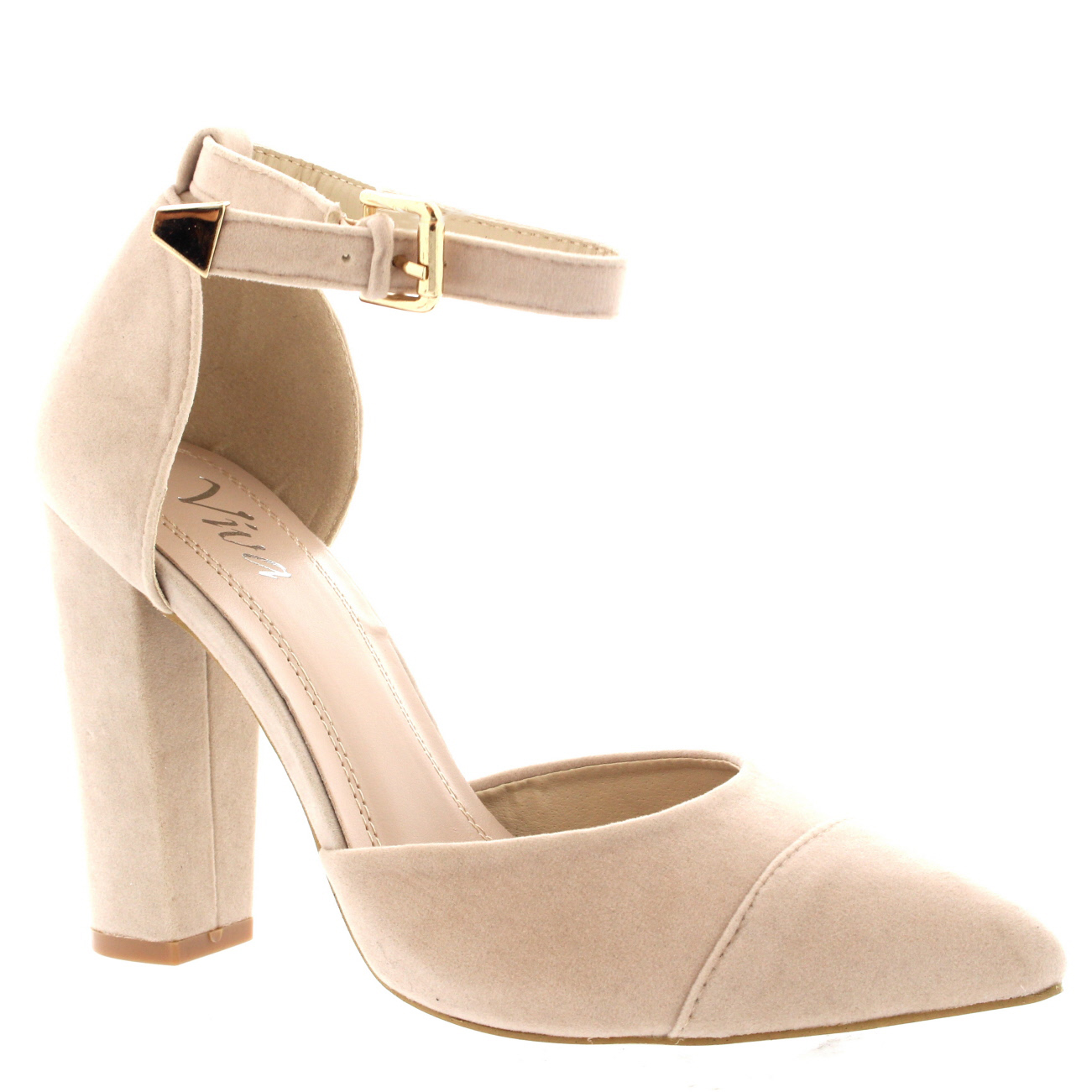 Womens Pointed Toe Office Shoes Block Heel Ankle Strap ...