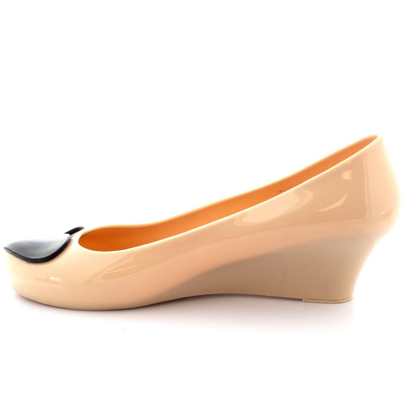 Womens Love Heart Slip On Summer Jelly Wedge Heel Ballet Ballerina Shoes UK 3-9