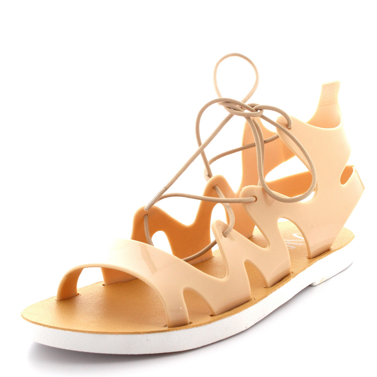 Womens Lace Up Jelly Ankle Summer Holiday Beach Cut Out ...