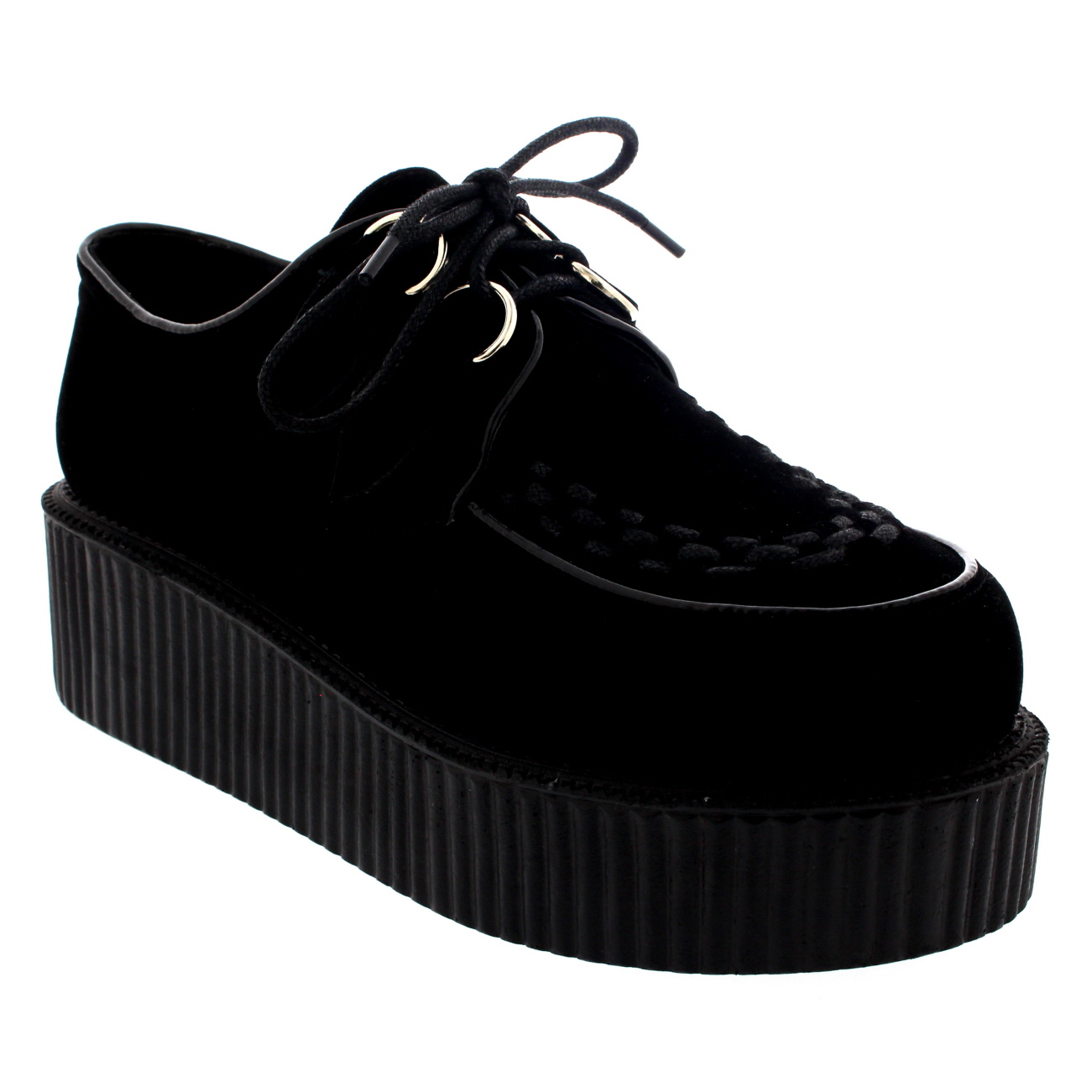 Womens Double Platform Retro Punk Festival Rock Brothel Creepers Shoes UK 3-9
