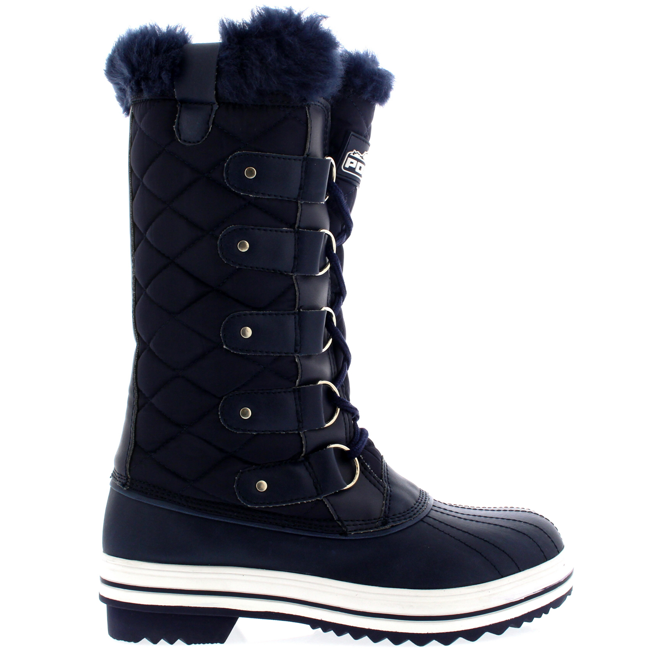 Beautiful WomensQuiltedRainLaceUpFurLinedWarmShoesDuckWinterSnow