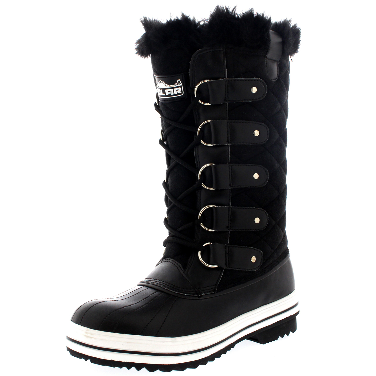 Wonderful  Lace Up Fur Lined Warm Shoes Duck Winter Snow Boots UK 310  EBay