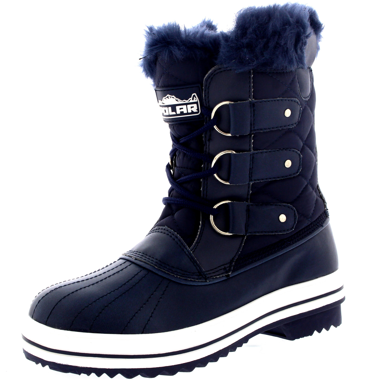 womens quilted duck fur lined lace up muck snow