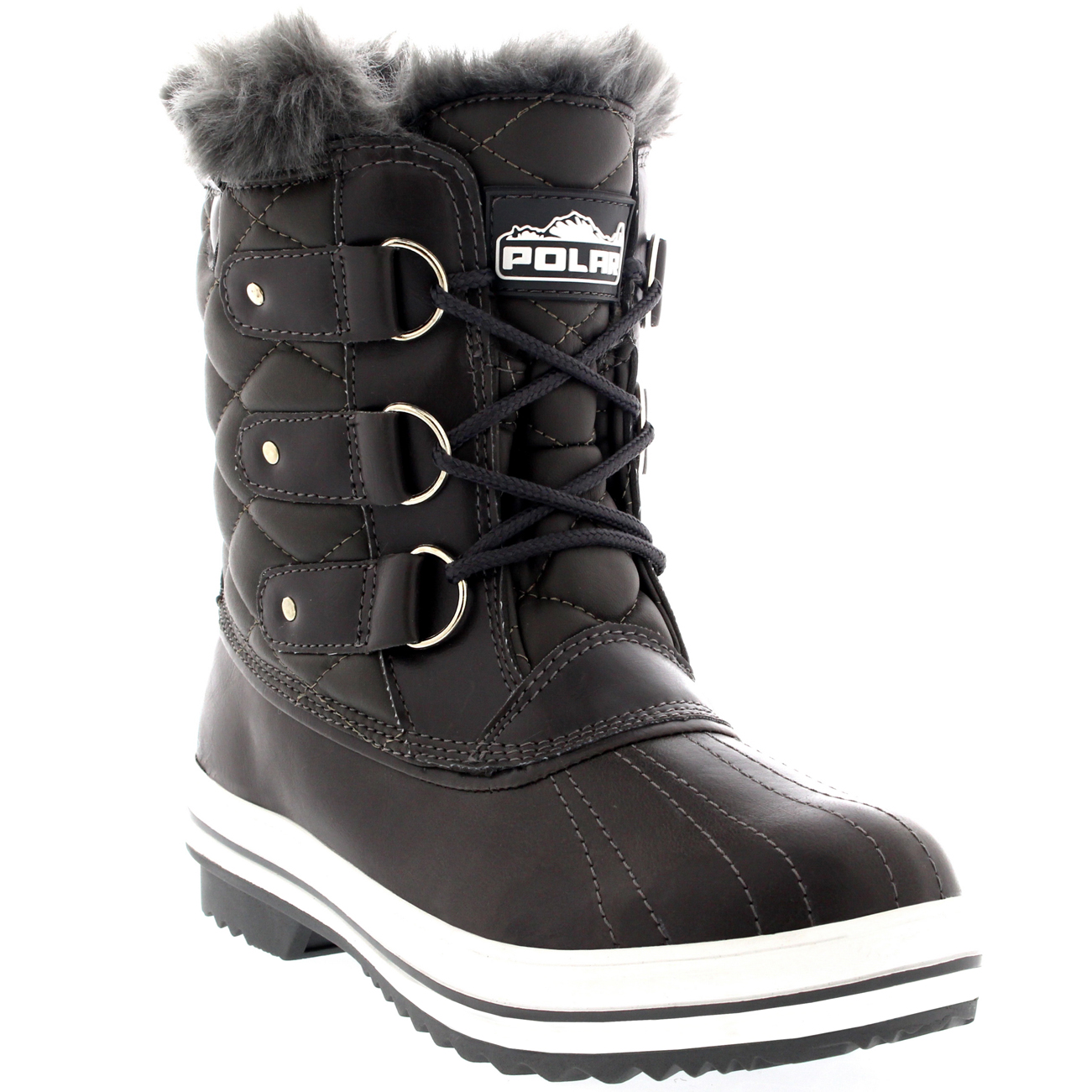 Womens Quilted Short Duck Fur Lined Rain Lace Up Muck Snow ...